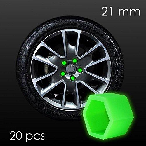 Cache boulon écrou 21mm phosphorescent pour roue de voiture