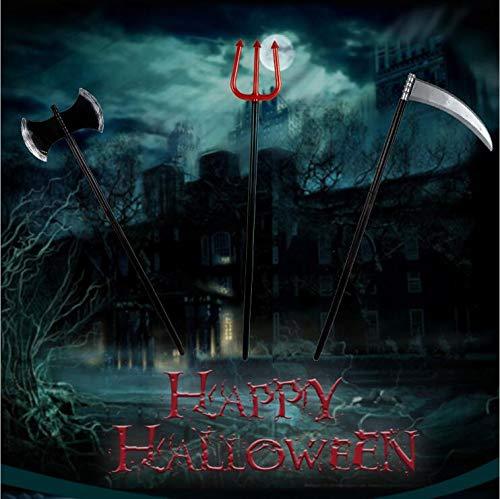 Dream Loom Halloween-Waffen, 3 stücke Kunststoff Große Gabel Sichel Axt Waffe Spielzeug Cosplay Horror Zubehör für Kinder und Erwachsene (Schwarz)