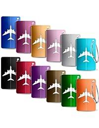 Yosemy 12 Mix Couleurs Bagages Étiquettes ID Tags en Alliage D'aluminium avec Cordes en Acier Inoxydable, Étiquettes Valise, Accessoires Voyage