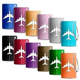 Yosemy Viaggio bagagli Tag, 12 Pezzi Valigia bagagli Bag Tag Alluminio ID viaggio borsa Tag Etichette per Valigia Tag…