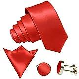 GASSANI 3-SET Feuerrote Krawatte moderne Breite 8cm Binder Manschettenknöpfe Einstecktuch Satin Seide-Optik Hochzeitskrawatte