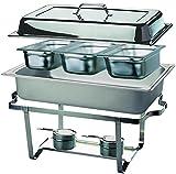 APS 11674 Chafing Dish -TRIO-, 61 x 36cm, H: 29cm Edelstahl, bestehend aus: 1 Gestell mit Deckelhalterung, 1 Wasserbecken 3 Speisebehälter GN 1/3-65 mm