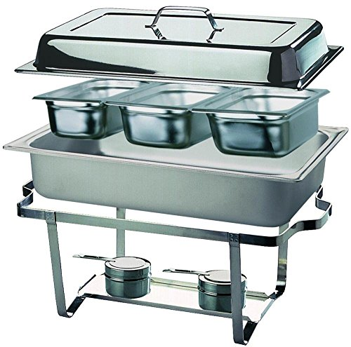 Chafing dish trio food warmer, stainless steel