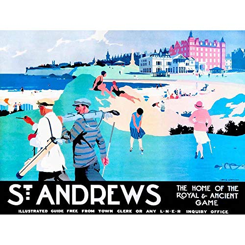 Wee Blue Coo LTD Travel Tourism St Andrews Fife Scotland Golf Royal Ancient Sport Art Print Poster Wall Decor Kunstdruck Poster Wand-Dekor-12X16 Zoll - Royal And Ancient Golf