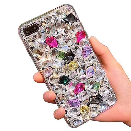 Voller Diamant Hülle für iPhone XR,Aearl TPU Silikon Transparent 3D Bling Glitzer Kristall Steinchen Handyhülle Bumper Case Cover mit Displayschutzfolie für iPhone XR 6.1 Zoll,Bunt Voller Bling