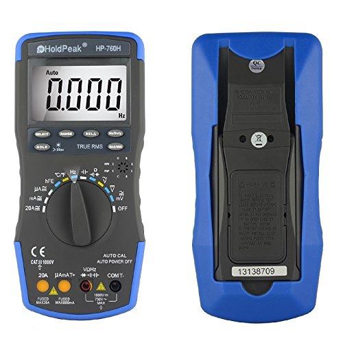 Preisvergleich Produktbild HoldPeak 760G Digitales LCD-Multimeter mit automatischer Skalierung und Diodentest, hFE-Test und Durchgangstest, für elektronische Messungen mit Data-Hold-Funktion und Hintergrundbeleuchtung, Bedienungsanleitung evtl. nicht in deutscher Sprache, 760H blue