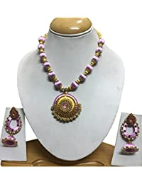 BellaYou Fashion Baby Pink And Gold Color Silk Thread With Pearl Beads Pendent And Jhumki Earrings Women