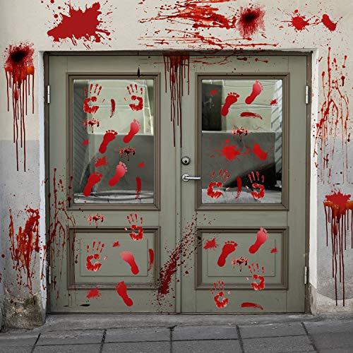 EasGear Wandaufkleber mit blutigen Fußabdrücken und Handabdrücken, für Fenster, Halloween, Vampir, Zombie-Party, 2 Stück (Horror-filmen Halloween Zu Auf Die Sehen,)
