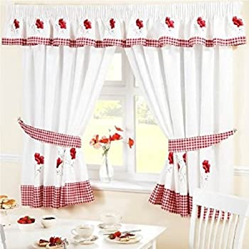 Marvelous Homespace Direct Embroidered Floral Gingham Checked Poppies Pencil Pleat Kitchen  Curtains And Tiebacks, Red,