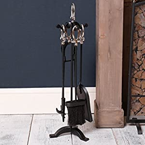 Nickel & Iron Free Standing Stylish Companion Set - Practical Stylish & Sturdy - ideal for a traditional fireplace or hearth, and useful for maintaining a well used fireplace this winter - great to keep warm and cozy and an ideal iron anniversary gift - g