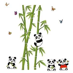 Stickers Muraux Handlife® Wall Sticker avec Jolis Dessins 「Panda Manger Bambou」「Papillon」 Meilleure Décoration pour la Famille pour la Maison Chambre de bébé