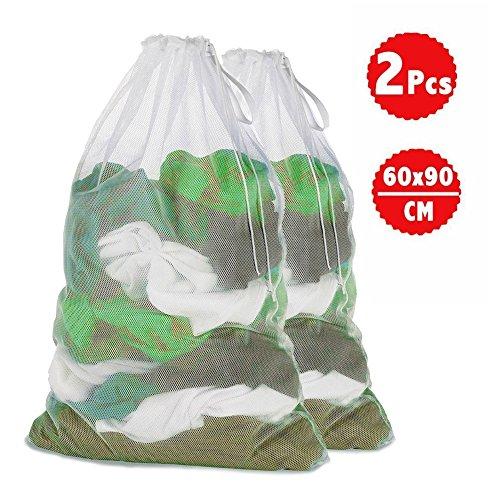 2 PCS Filet à linge , Genmer Blanc Sacs de Lavage Sac à linge 60 x 90 cm Perfect machine à laver , sous-vêtements à linge, collants, vêtements d'extér...