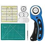 Cozywind Taglierino Rotante Cutter rotativo con Lama da 45 mm 5 Lame sostitutive per Cucito, Taglio di Tessuto, Taglio di Carta, Taglio di Pelle