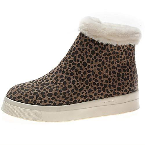 Frauen Plattform Warme Schneeschuhe Ankle Booties Winter Innerhalb ReißVerschluss Leopard PlüSch Klassische Hohe BeiläUfige Turnschuhe -