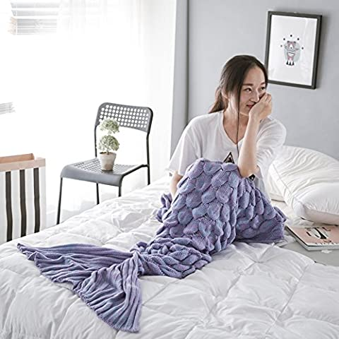Handmade Mermaid Tail Blanket Crochet, Ecrazybaby888 All Seasons Warm Knitted Bed Blankets Sofa Living Room Quilt for Adults, Fish-scales Pattern, 76.8