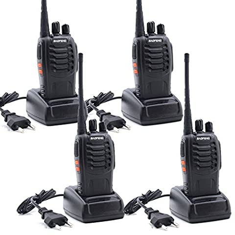 CDC® Baofeng BF-888S Talkie Walkie UHF 400-470MHz CTCSS / DCS haute illumination lampe de poche avec Ecouteur Handheld Amateur Radio Noir Paquet de 4