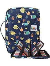 BOMKEE Trousse à crayons colorée 220 Slots Portable Dessiner Peindre Pochette Sac de rangement étanche multicouche pour stylos aquarelle pour enfants et adultes (tortue de mer)