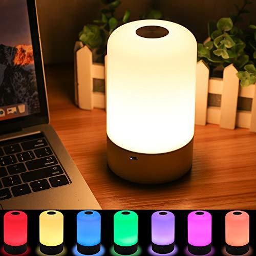 SOLMORE LED Nachtlicht Kinder Touch Control Smart Nachttischlampe Schreibtischlampe 256 RGB-Farbwechsel & Dimmbares Multifunktionale USB-Aufladung für Geschenk Zimmer Deko