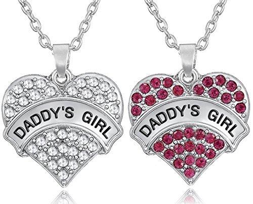 Set von 2Daddy 's Girl Silber Ton Herz Ketten Rosa/Klar Kristalle für Big Little Twin Sisters Mädchen Teens Frauen
