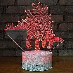 Wallfia Fuß-lange Dinosaurier Justierbare Notensteuerung der Illusions-LED 7 der Farbe 3D, USB-Kabel- / Batterienachtlicht, Geburtstags- / Neujahrs- / Weihnachtsgeschenk
