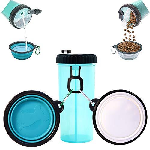 MSDADA Hund Wasser Flasche, Walking Food Container, Fashion Antibakteriell Portable 2in 1Pets Reise Wasser Schüssel Faltbar, Wasser Spender, (Größe XL)