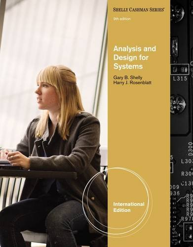 Analysis and Design for Systems (Shelly Cashman Series): Written by SHELLY/ROSENBLATT, 2011 Edition, (Ninth) Publisher: Course Technology [Paperback]