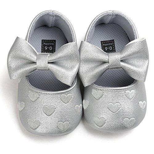 BZLine® Bowknot PU Cuir Chaussures à Semelle en Tissu, à Motif des Cœurs pour Bébés 0-18Mois (0~6Mois, Blanc) Gris
