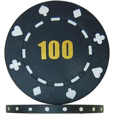 Budget Range Suited Numbered Poker Chips - Black 100 (Roll