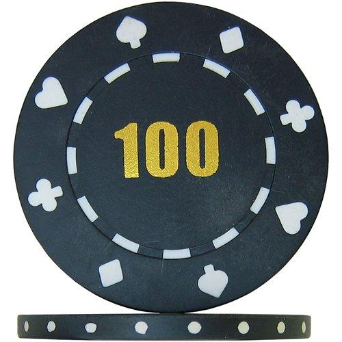 Budget Range Suited Numbered Poker Chips - Black 100  Roll of 25