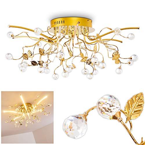 LED Deckenleuchte Sabadell aus Metall in Messing – Extravagante Lampe mit auffälligem Schirm und Glaskristallen - stilisierter Kronleuchter – 1380 Lumen – 3000 Kelvin - Zimmerlampe für Wohnzimmer
