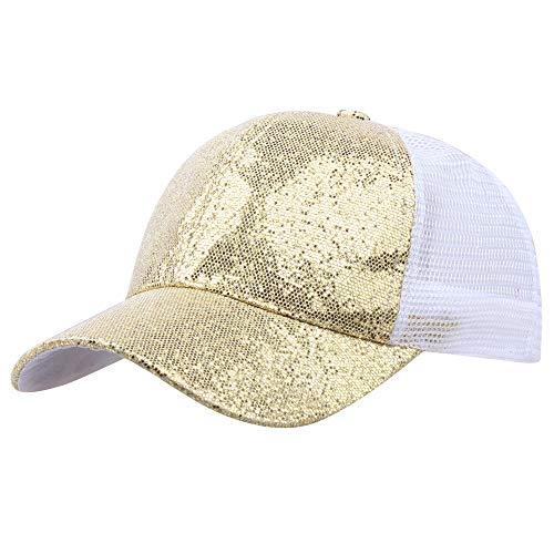Lucky Mall Unisex Pailletten Sonnenmütze, Frauen UV-Schutz Sonnenhut Herren Sportmütze Strandkappe Baseball Kappe für die Vier Jahreszeiten, Täglich Partyzubehör