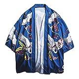 MOTOCO Herren T-Shirt Strickjacke Beiläufige Lose Print Japanische Kimono Jacke Kurzarm Top Jacke Retro Shirt 3/4 Ärmel Langarm/Kurzarm Hemden(XL,Blau)