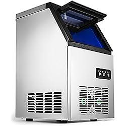 Chrisun Machine à Glaçons Automatique 220V 50Hz Machine à Glaçon Professionnel En Acier Inoxydable Machine à Glace (68KG)