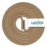 LACCICO Finest Waxed Laces® Durchmesser 2 mm Runde Dünne Elegante Gewachste Schnürsenkel Farbe: Dunkelbeige Länge: 75 cm