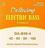 Dellwing Bass-Saiten - Premium Gitarren-Saiten für die Bass-Gitarre, 4-Saiten-Set in TOP Qualität