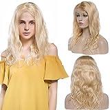 Lace Front Wig Parrucca Bionda Lunga Donna Capelli Veri Naturale Human Hair Ondulati Posticci 100% Remy Virgin Capelli Brasiliani 130% Densità, 16'/40cm 190g