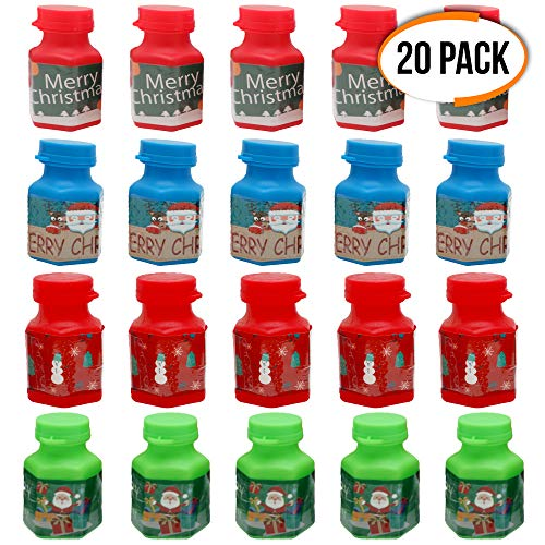 The Twiddlers 20 Christmas Bubbles for Children, in 4 different designer bottles - Mini Toys Ideal for Christmas Party Table, Stocking & Party Bag Fillers - Favours, Xmas for Kids