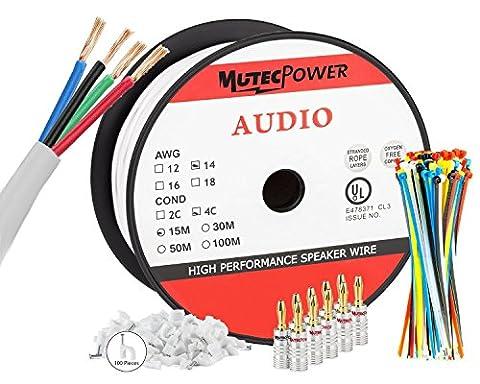MutecPower In Wall Speaker Wire | 15 Meter | 14AWG