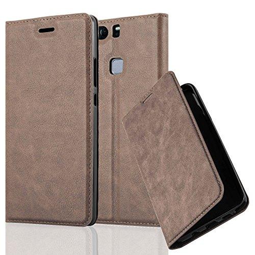 Cadorabo Hülle für Huawei P9 Plus - Hülle in Kaffee BRAUN - Handyhülle mit Magnetverschluss, Standfunktion & Kartenfach - Case Cover Schutzhülle Etui Tasche Book Klapp Style