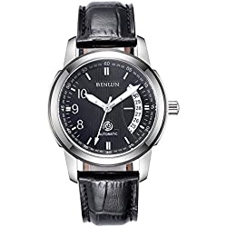BINLUN Automatic Watches for Men Waterproof Military Black Leather Mechanical Watch with Calendar Date Stainless Steel Case