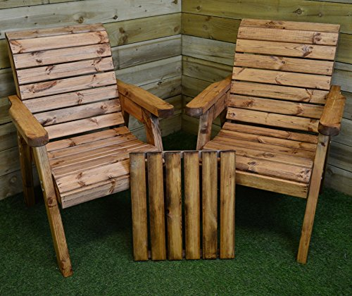 Charles Taylor Trading Hand Made 2 Seater Chunky Rustic Wooden Garden Furniture Companion/Love Seat