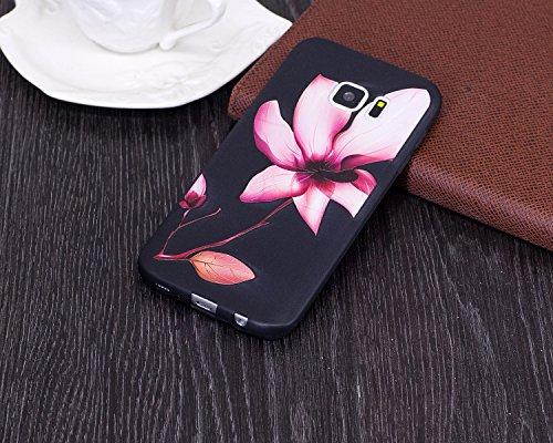 Coque Galaxy S7, Étui Galaxy S7, ISAKEN Coque Samsung Galaxy S7 - Étui Housse Téléphone Étui TPU Silicone Souple Coque Ultra Mince Gel Doux Housse Motif Arrière Case Antichoc Doux Durable Résistant Au lotus
