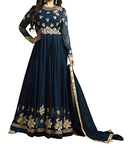 Ethnic Yard Semi-Stitched Free Size Latest Faux Georgette Anarkali Salwar Kameez