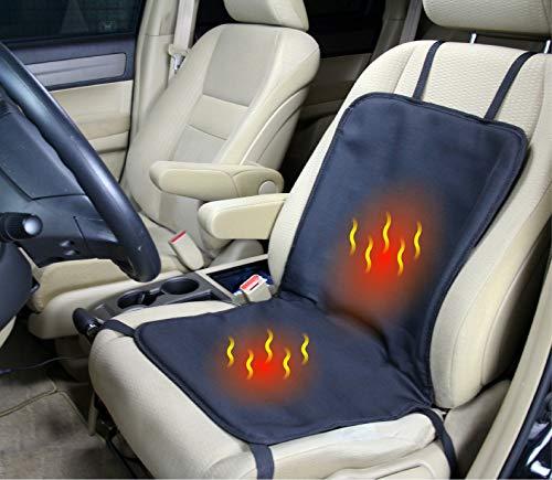 ObboMed SH-4100 12V 45W Beheizbare Sitzauflage Sitzkissen mit extra sichere Befestigung - Optional Vertikal oder Horizontal, Utility Model mit Premium Zigarettenanzünderstecker; Schwarz - 83 x 43 cm