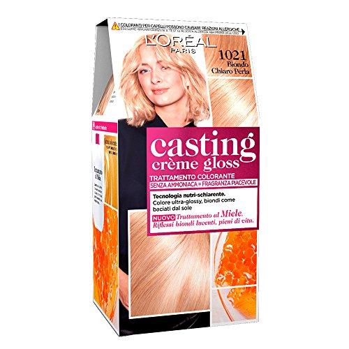 L'oréal paris colorazione capelli casting crème gloss, tinta colore trattamento senza ammoniaca per una fragranza piacevole, 1021 biondo chiaro perla