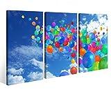 Leinwandbild 3 Tlg. Luftballons bunte abstrakte Kunst Leinwand Bild Bilder auf Keilrahmen Holz - fertig gerahmt 9O874, 3 tlg BxH:120x80cm (3Stk 40x 80cm)