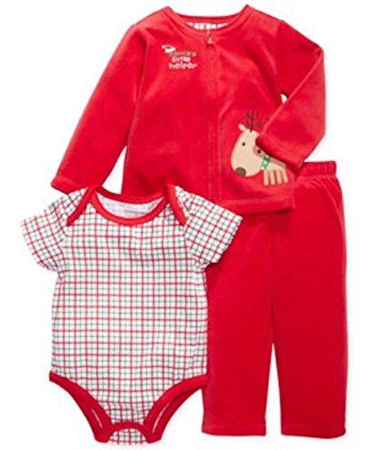 First Impressions Babyanzug 3 teilig Gr. 68/74 Weihnachten Outfit Santa's Little Helper US Size 6-9 Month Chistmas Santas Helper Outfit