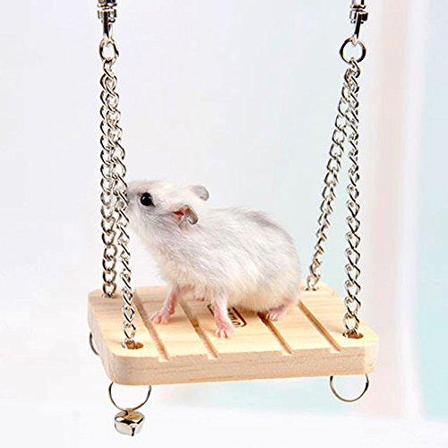 Jspoir Melodiz Jouet Balançoire Suspendu en Bois avec Cloche pour Hamster Lapin Souris Oiseaux Perroquet Jeu Exercice