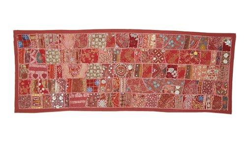 Vintage HomeDecorTabelleWirfPatchworkWandbehangWandteppichmitAlte KleiderZari,Stickereien und PaillettenArbeit,152 x 51 cm
