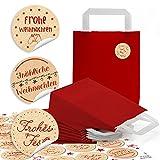 24 kleine rote Papiertüten Boden Papiertaschen Henkel 18 x 8 x 22 cm + 24 beige rote Weihnachts-Aufkleber Weihnachtswünsche Kraftpapier Weihnachtstüten Geschenktüten Verpackung
